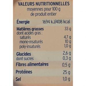 Valeurs nutritionnelles truites