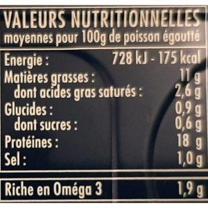 Valeurs nutritionnelles maquereaux Sancerre